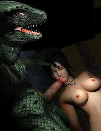 Tomb Raider and Witcher girls gets mouth-fucking by the monster's lair