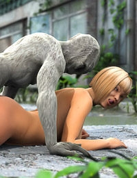 After fucking her hard, the repulsive mutant unloads his alien cum all over her boobs.