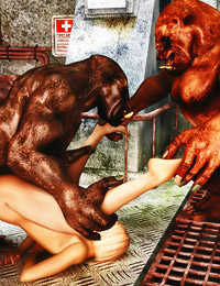 This horrid ogres scare the crap out of hot blonde, but her perverted desire is greater than fear