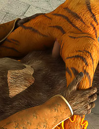 Tiger-like furry seduces a horny wolf and rides his hard rod