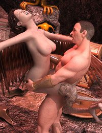 Beefy traveler has filthy messy sex with a weird harpy