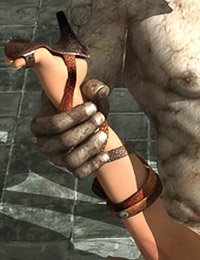 Stone statue pounds the pussy of a hot fantasy character