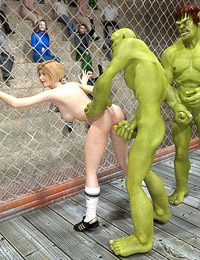 Green alien fighters turn on the referee and fuck her raw