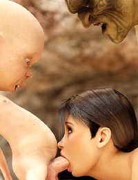 Sexy helpless beauty fixed and fucked by ugly fantasy monsters drilling her mouth and ass