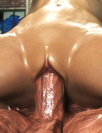 3D monster dick is covering her face with a gigantic load of jizz