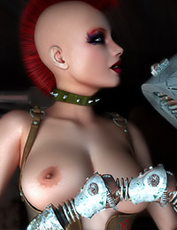 Busty dystopian babe with mohawk