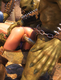 Her juicy wet holes are getting fucked hard by the nasty 3D monsters