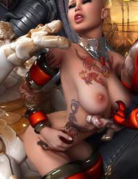 Amazing hot tattoed space babe sodomized by alien overlord