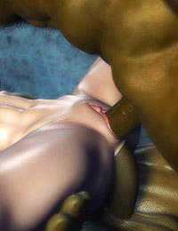 Strong two ogres are expanding tiny 3D girl's butt hole and pussy with their extra huge dicks
