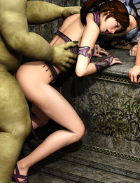 Big-boobed elfins hanging out with rough orks and banging during a hot orgy