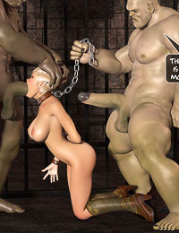 Blond elfin with yummy jugs and shaved vagina gets chained and fucked hardcore